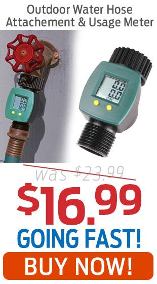 Outdoor Water Hose Attachement & Usage Meter Just $16.99!