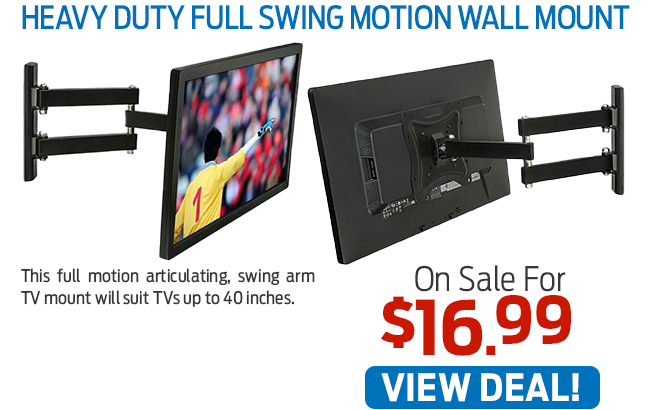 This Heavy Duty Full Motion Swing Arm Wall Mount Now Just $16.99!