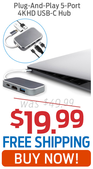 Plug-And-Play 5-Port 4KHD USB-C Hub Now Only $19.99 + Free Shipping!