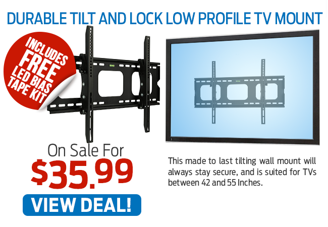 This Durable Tilt and Lock Low Profile TV Mount Is now Just $35.99!