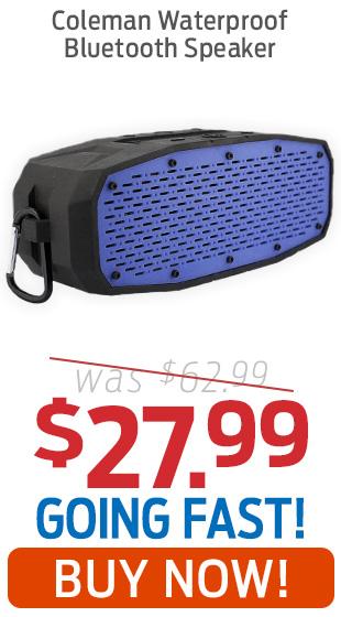 Coleman Blue Waterproof Bluetooth Speaker Just $27.99!