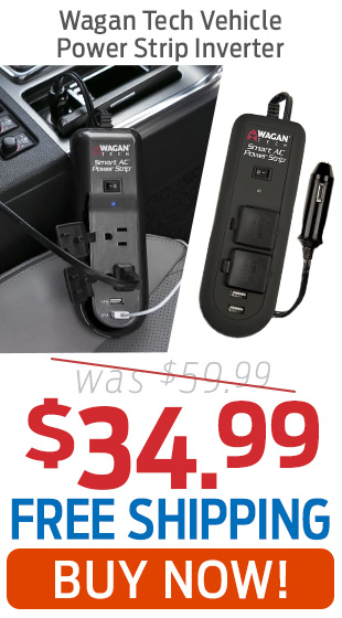 Wagan Tech Vehicle Power Strip Inverter Only $34.99 + Free Shipping!
