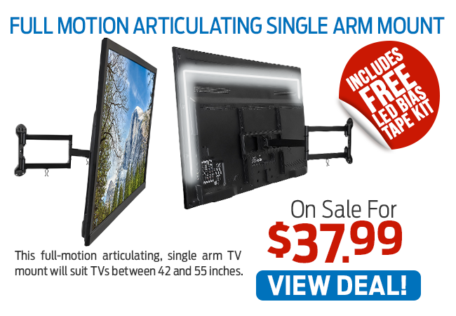 This Full Motion Articulating Single Arm Mount Is Now Just $37.99!
