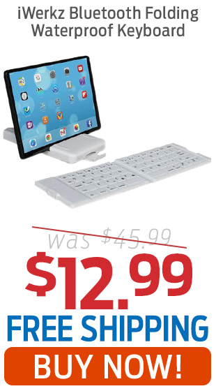 iWerks Bluetooth Folding Waterproof Keyboard Just $12.99 + Free Shipping!
