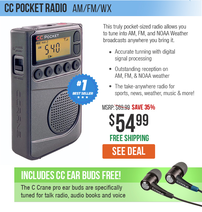 This truly pocket-sized radio allows you to tune into AM, FM and NOAA Weather broadcasts anywhere you bring it.