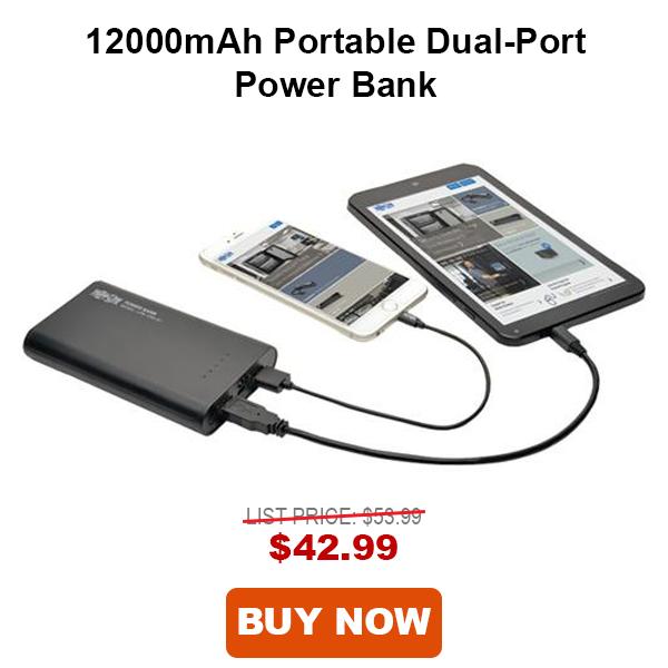 Tripp Lite 12000mAH Portable Dual-Port Mobile USB Power Bank
