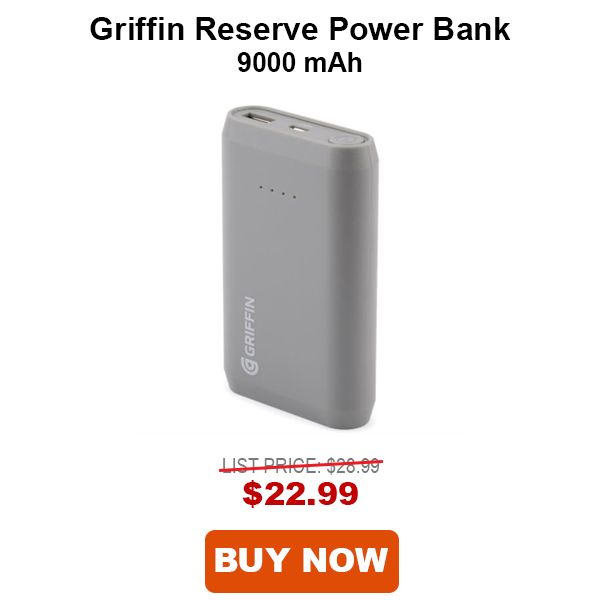 Griffin Reserve Power Bank 9000 mAh Gray