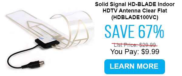 Solid Signal HD-BLADE Indoor HDTV Antenna Clear Flat (HDBLADE100VC)