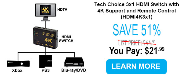 Tech Choice 3x1 HDMI Switch with 4K Support and Remote Control (HDMI4K3x1)