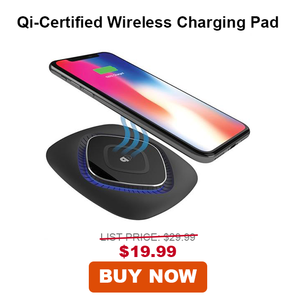 PressPlay Qi-Certified ChargeWAVE Fast Wireless Charging Pad