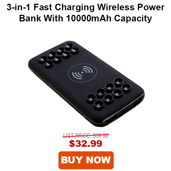 3-in-1 Fast Charging Wireless Power Bank with 1000mAH Capacity