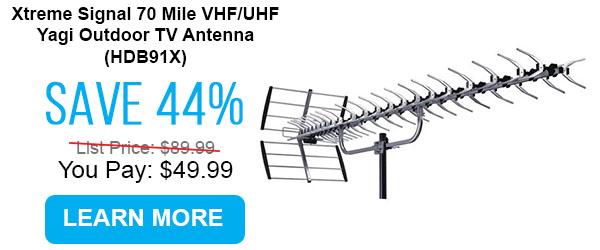 Xtreme Signal 70 Mile VHF/UHF Yagi Outdoor TV Antenna (HDB91X)