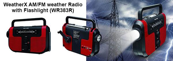 WeatherX AM/FM weather Radio with Flashlight (WR383R)