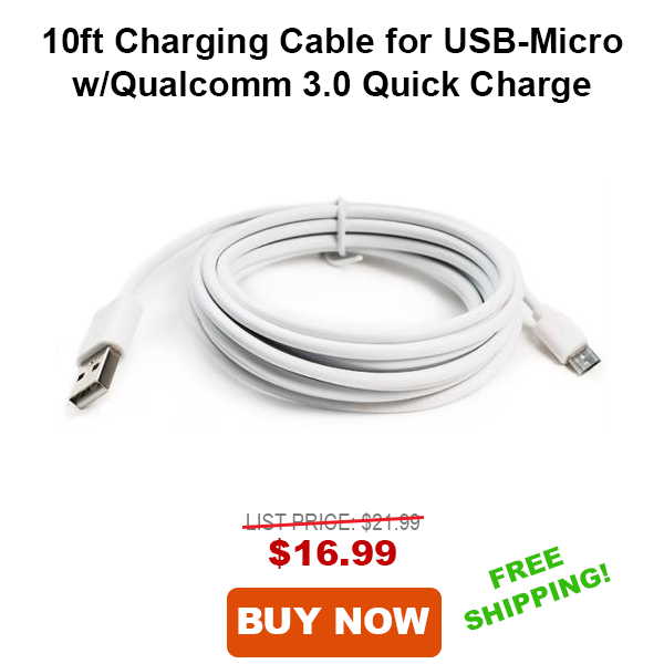 Tech Choice 10ft Charging Cable for USB-Micro with Qualcomm 3.0 Quick Charge