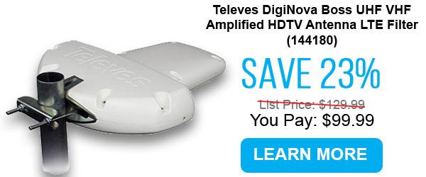 Televes DigiNova Boss UHF VHF Amplified HDTV Antenna LTE Filter (144180)