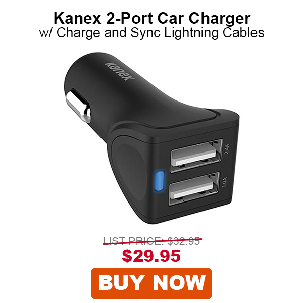 Kanex Car Charger 2-Port with 2-Pack Charging and Sync Lightning Cables, 4'
