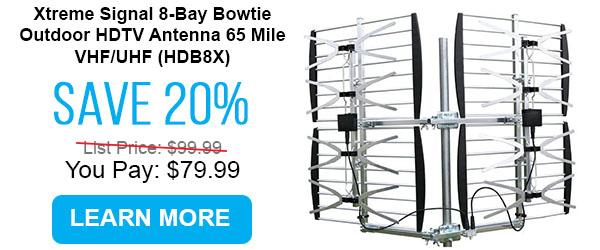 Xtreme Signal 8-Bay Bowtie Outdoor HDTV Antenna 65 Mile VHF/UHF (HDB8X)